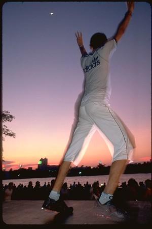 Sunset exercise class on the Chao Praya River Bangkok, Thailand