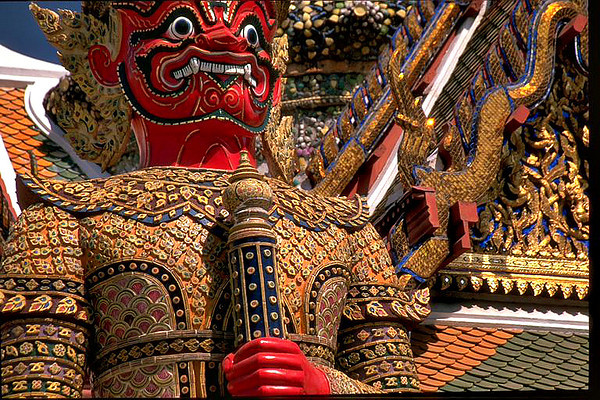 Red Dragon head in Grand Palace Bangkok, Thailand