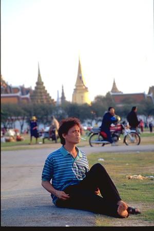 Thai man smoking, rare, Bangkok  Thailand