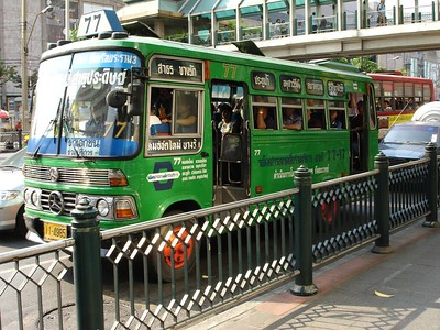 Busses in Bangkok come in all shapes and colors, but they all look equally uncomfortable