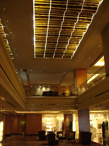 Bamboo decorations inside the Westin lobby
