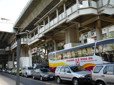 Traffic on the street doesn't move but the skytrain above zips right along.