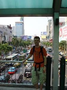 Fred on a pedestrian bridge in Bangkok