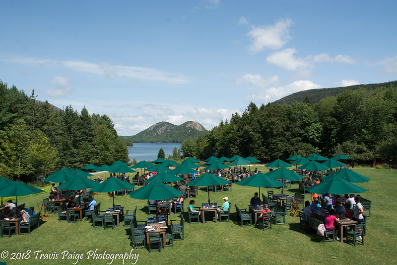 Popovers on the lawn with view of Jordan Pond.