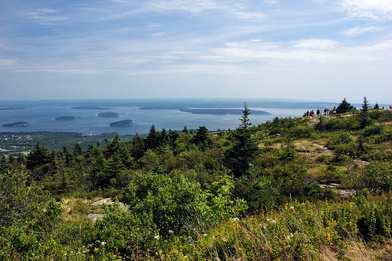 A view from the top of Cadillac mountain.  To the left is the town of Bar Harbor.