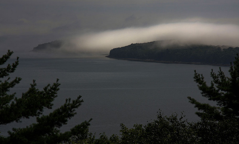 The mist from the sea moves in and covers the islands..