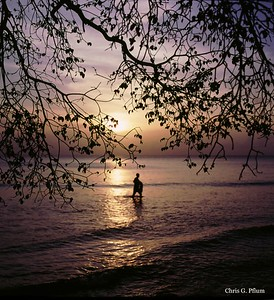 Barbados, West Indies - Fisherman casting for bait along the eastern (calm) shorline