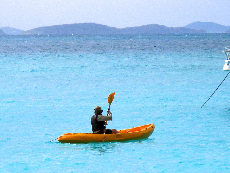 Fearless Nancy, sea kayaking at Jost van Dyke