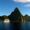 On the last day, they loaded us onto a tender where we could take photographs of the Royal Clipper under full sail in front of the Pitons on St. Lucia