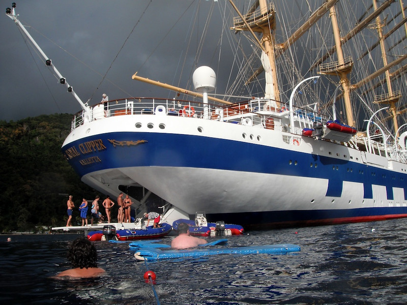 """The Royal Clipper lets down a swimming platform from the aft """"tailgate"""""""