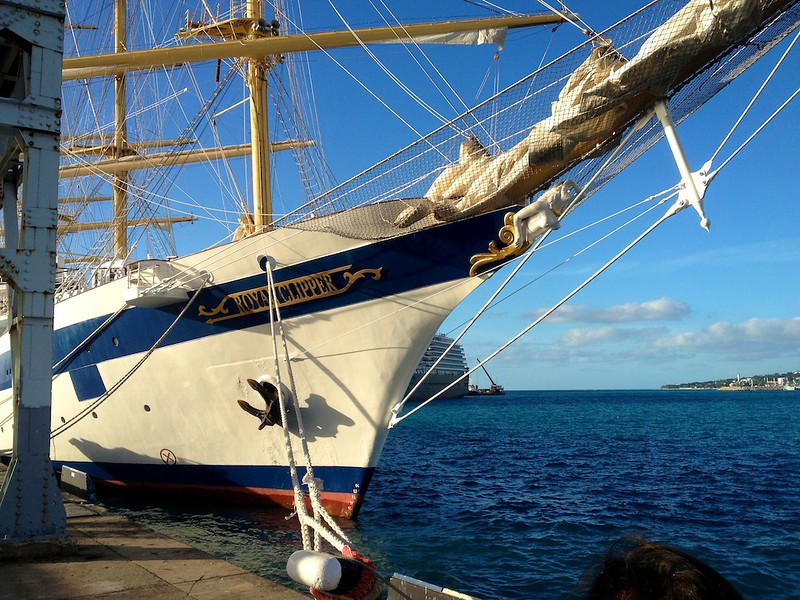 Our first view of the Royal Clipper, docked in Bridgetown, Barbados