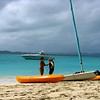 Laura getting Nancy checked out for sea kayaking on Jost van Dyke