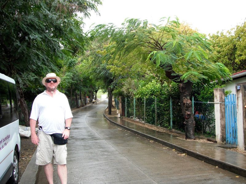 Stephen walking back to Terre de Haut on Iles des Saintes, French West Indies with his stylish fanny pack.