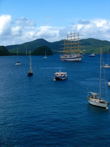 Royal Clipper anchored off Iles des Saintes, French West Indies