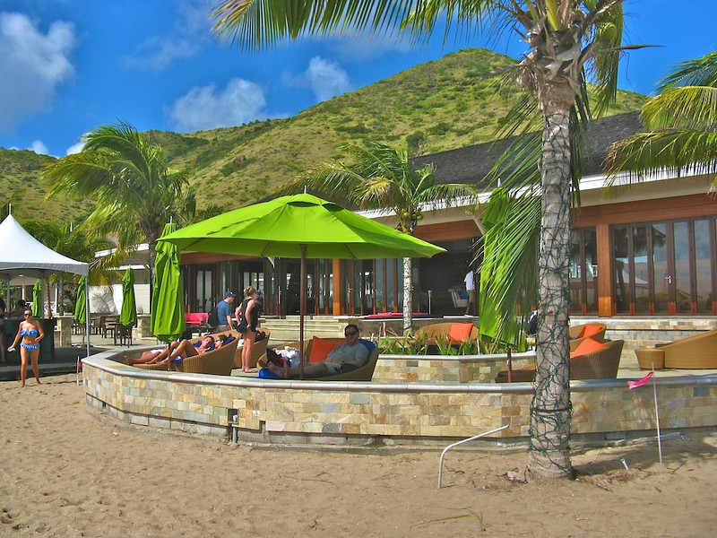 Stephen in solitary shady splendor at Ballast Bay on St. Kitts.