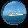 The Sea Cloud, posing in a porthole onboard the Royal Clipper