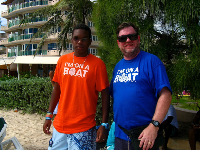 """How bizarre is this? Sanjay Parekh gave me the """"I'm on a boat"""" T-shirt from Startup Riot... and then I ran into a local wearing one (without the Startup Riot sponsors on the back) on Rockley Beach in Barbados..."""