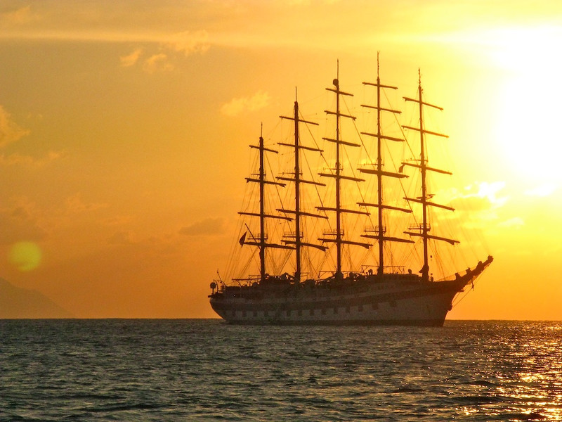Taking the tender (small boat) back to the Royal Clipper at sunset