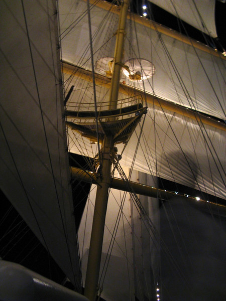 Sailing from St. Barth's to Tortola; first time the square-rig sails have been unfurled.