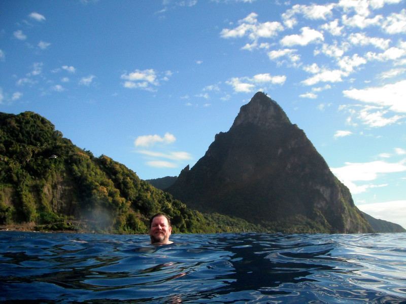 Stephen swimming in front of Petit Piton on St. Lucia