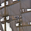 Two of the Royal Clipper's mainsails are still rigged by hand for training purposes.