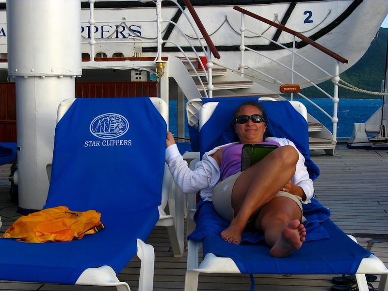 Cissa in a sunny spot on the Royal Clipper.