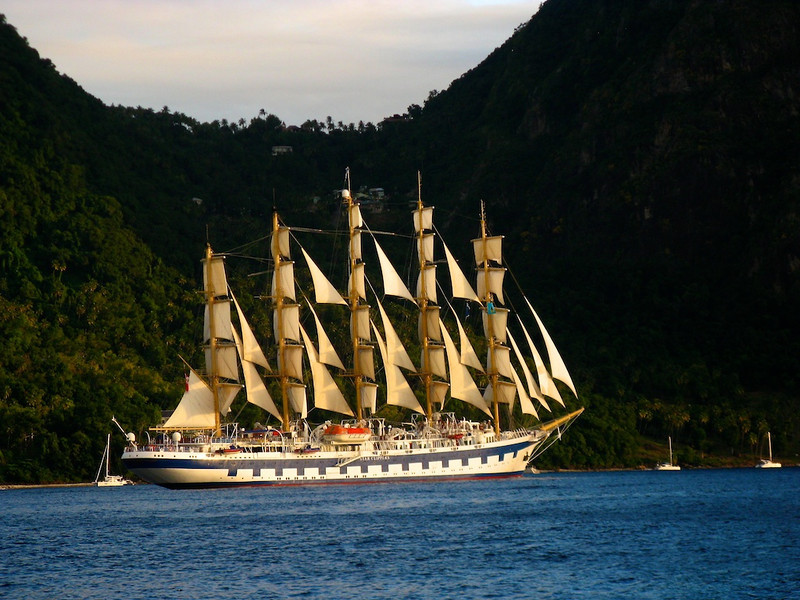 The Royal Clipper under full sail at sunset off St. Lucia