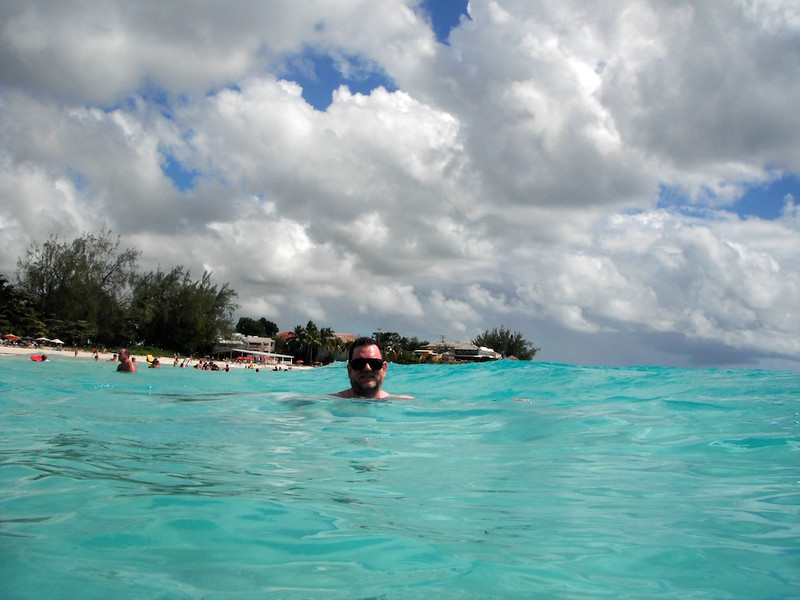 Stephen swimming on the perfect beach, Rockley, Barbados