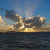Sunset leaving Virgin Gorda.