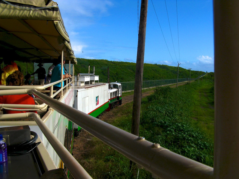 The Sugar Train on St. Kitts! Reportedly the only train in the Caribbean. Used to transport sugar cane to the mills. The sugar industry pulled out of St. Kitts in 2005, and now they're focused on tourism. They seem to be doing a lot of things right; I wish them luck.