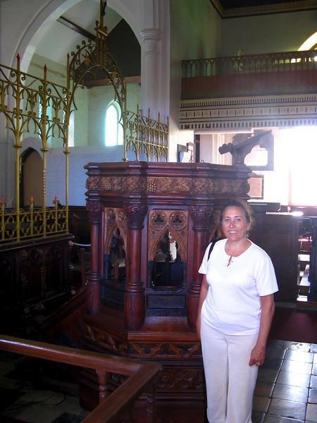 Cissa at the pulpit in St. Johns, Barbados. This is carved from six different types of wood!