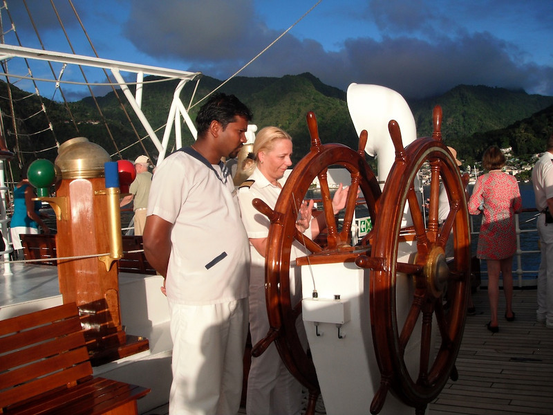 "Anita, the incredibly-competent Royal Clipper ""hotel manager,"" takes the helm!"