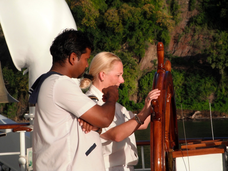 """Anita, the incredibly-competent Royal Clipper """"hotel manager,"""" takes the helm!"""