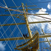 Workers in the rigging of the Royal Clipper.