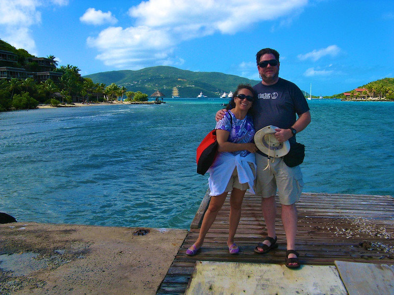 A delightful British couple, Keith and Gillian, took our picture in front of the Royal Clipper anchored in North Sound, Virgin Gorda
