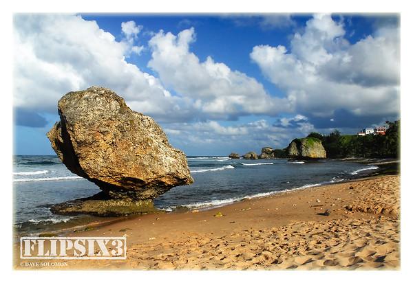 The unique rock formations of Bathsheba beach
