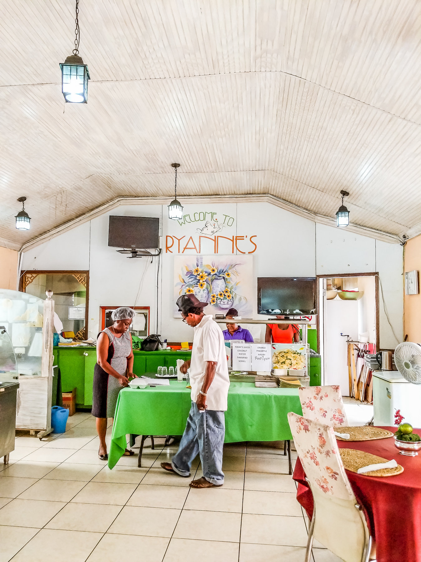 The best Barbados restaurants according to locals include Ryanne's which is packed at lunch for its traditional Bajan buffet.
