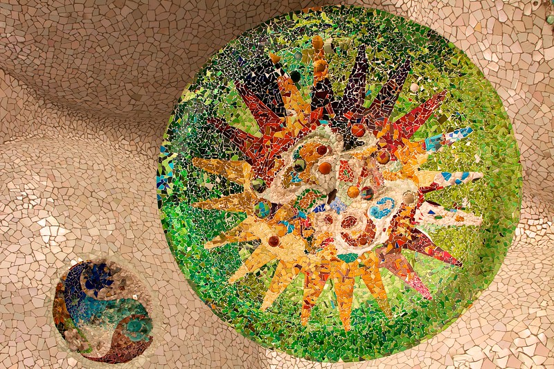 Ceiling mosaics under the plaza