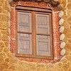 Window in the guard house with colorful tile