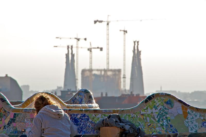 La Sagrada Familia from the plaza in Parc Guell