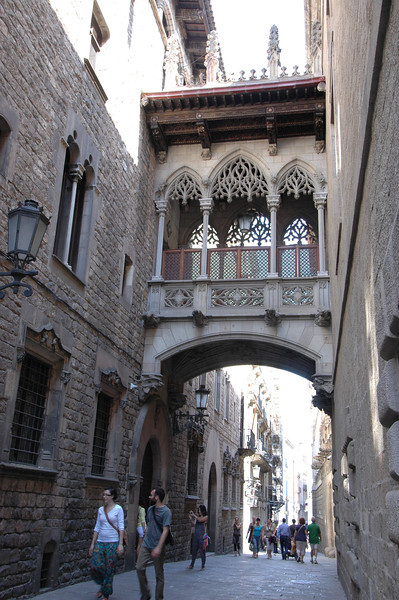 Reminds me of the bridge of sighs in Venice, but seems to be a bridge connecting the bishop's living quarters with the cathedral.
