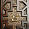 A carved door.