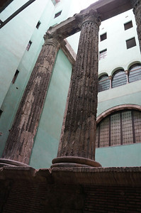 Roman columns housed within the Barri Gotic area of Barcelona.