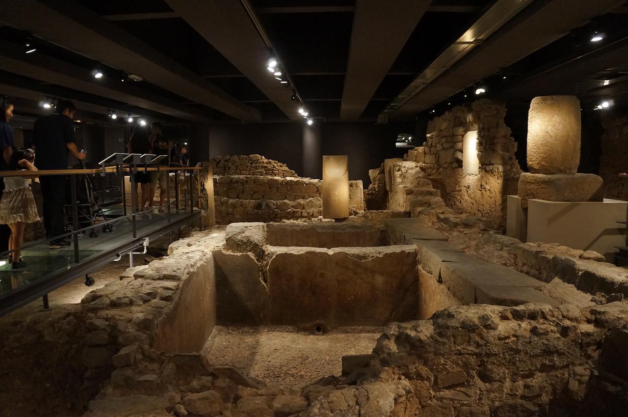 Excavations of ancient ruins below the city of Barcelona.