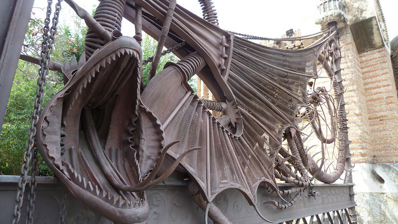Antonio Gaudi was commissioned to remodel a house and perimeter to the Finca Guell residence outside of Barcelona. He designed this impressive wrought iron gate depicting a dragon.