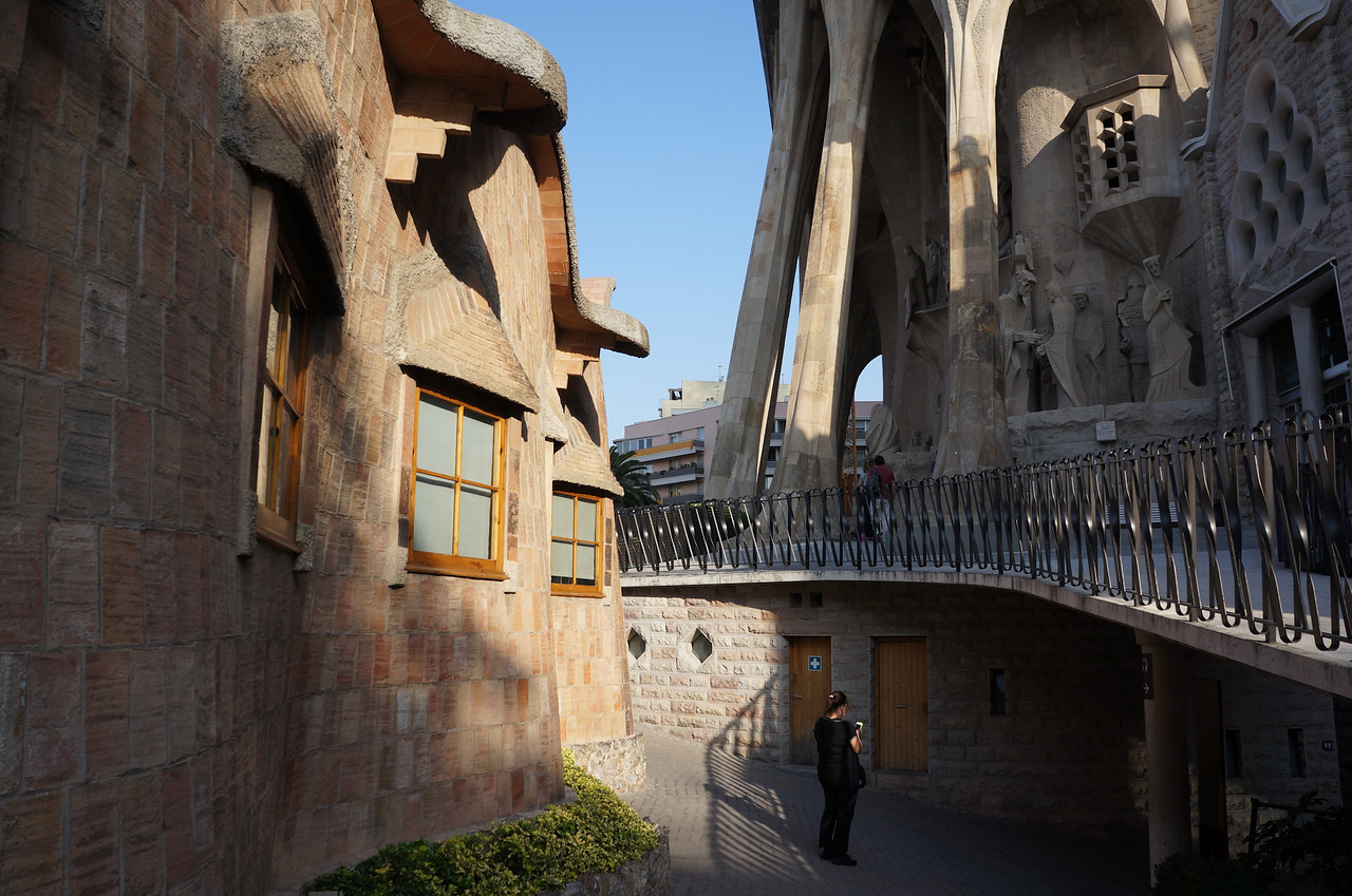 La Sagrada Família was designed with three entrances. This is a view of the main entrance that visitors enter. Above the entrance, a number of enclaves house sculptures depicting scenes from the life of Jesus Chris.