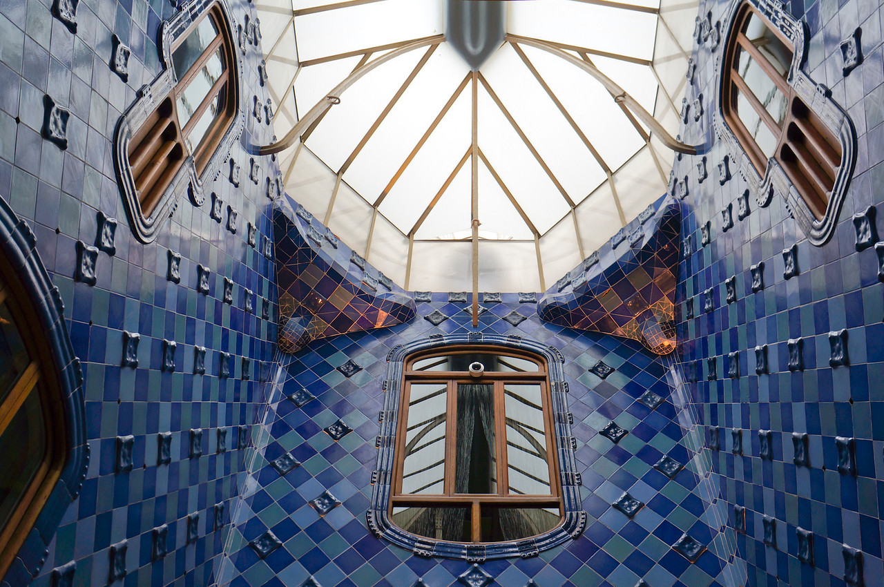 Interior of Casa Batllo. This area includes both the stairwell and elevator and the interplay of light throughout is amazing.