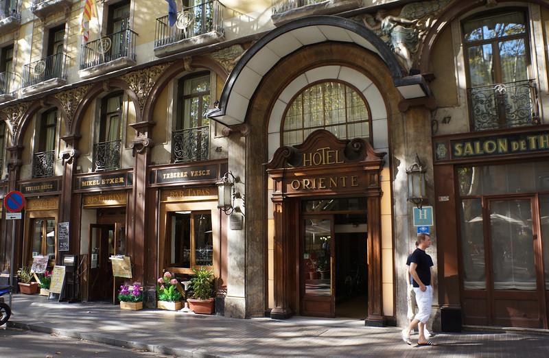 Hotel entrance along a street in Barcelona.