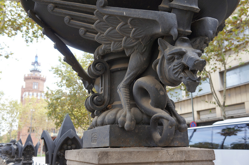A planter see along a walkway through the center of Barcelona.