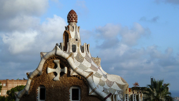 This building is sometimes referred to as the gingerbread house at the entrance to Parc Guell.